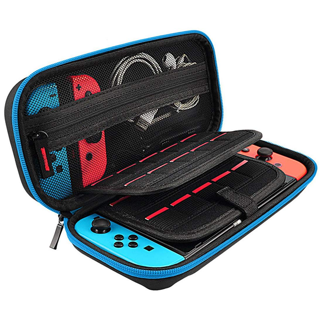 Qiling Nintendo Switch Carrying Case - 20 Game Cartridges Protective Hard Shell Travel Carrying Case Pouch for Nintendo Switch Console & Accessories (Black)