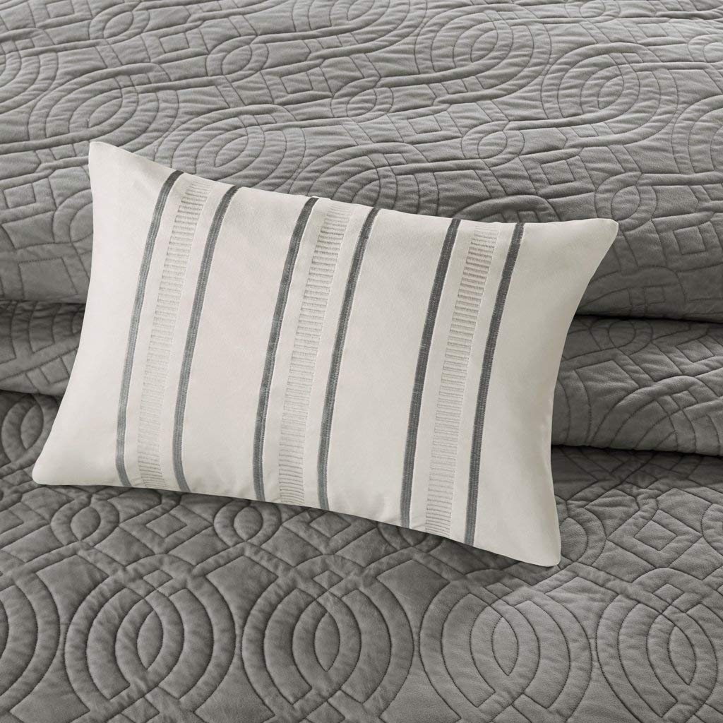 4 Piece Bedding Quilt Coverlets Ultra Soft Microfiber Bed Quilts Quilted Coverlet BM14-1105 Bombay Taryn King Size Quilt Bedding Set Quilted Grey