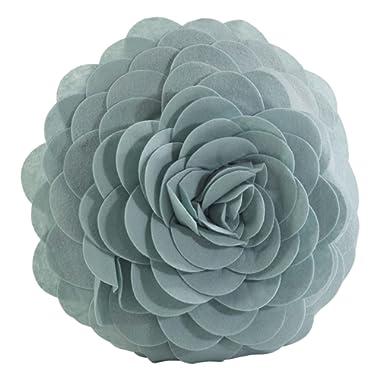 SARO LIFESTYLE FT095.A13R Fleur De Jardin Poly Filled Throw Pillow, Aqua, 13
