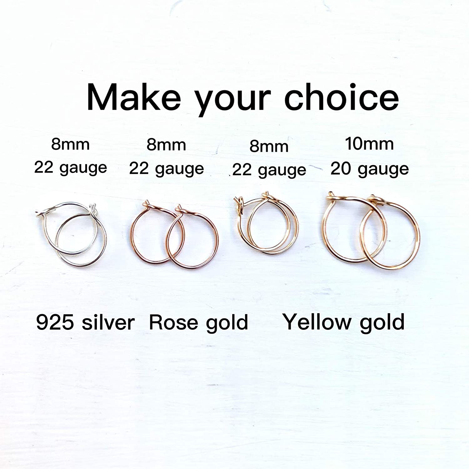 Tiny 14K Yellow Gold Filled Small and Thin 8mm Hoop Earrings