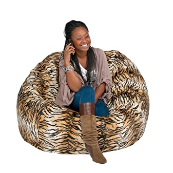 Cozy Sack 4 Feet Bean Bag Chair, Large, Tiger Print
