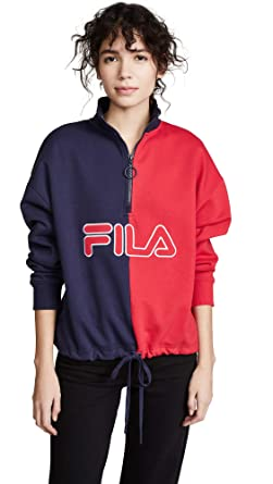 f49aecf5 Fila Women's Nayara Zip Sweatshirt, Peacoat/Chinese Red, X-Small at ...