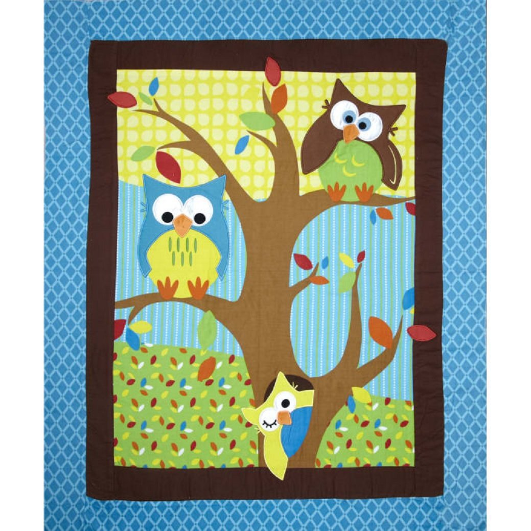 Bright Owl Flannel Quilt Top Turquoise 38