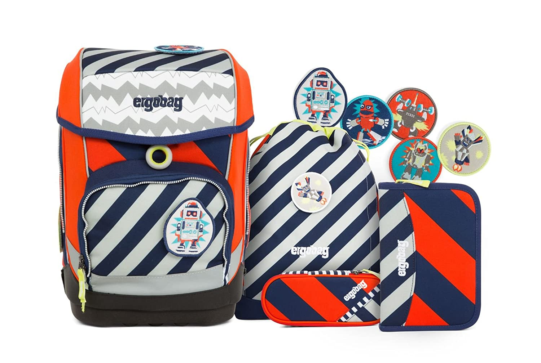 ERGOBAG cubo Set Stripes Schulranzen-Set, 40 cm, 19 L, Streifen Fett Jungs Blau-Orange