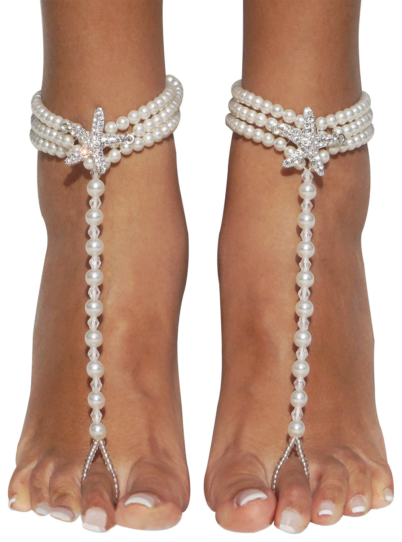 Bienvenu Starfish Barefoot Sandals Beach Wedding Ankle Bracelets Foot Jewelry,White