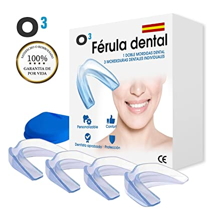 O³ Férula Dental Bruxismo - Ferula de Descarga Nocturna -Protector Bucal para dormir- Disminución de la Apnea ...