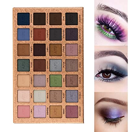 Afu High Pigmented Eyeshadow Palette Matte + Shimmer 28 Colors Makeup Natural Bronze Nudes Neutral Smokey Blendable Waterproof Eye Shadows Cosmetic   E 13 by Afu