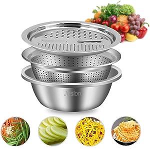 Jeslon Kitchen Vegetable Grater, Stainless Steel Drain Basket Vegetable Cutter Slicer Strainer Colander, Multi-Function 3 in 1 Salad Bowl For Home Use