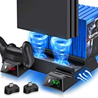 PS4 Vertical Stand Cooling Fan for PS4 Slim/ PS4 Pro/ Regular PlayStation4, PS4 Stand Controller Charger Station for…
