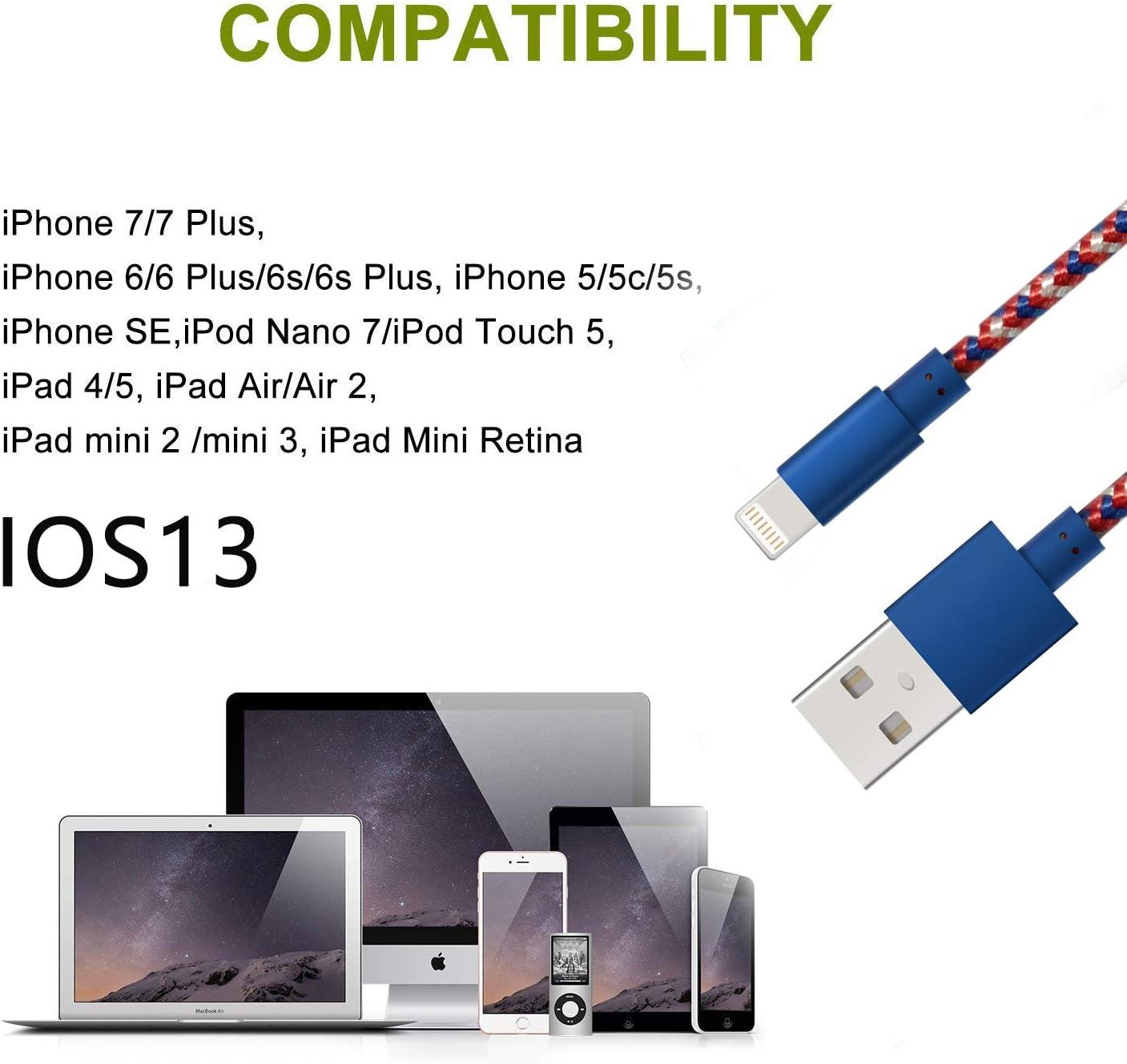 Certifi/é Apple MFi Chargeur iPhone Cable, 5c//5s//5//SE 3FT Fast Sync USB Lightning Cable Nylon Tress/é en Fibre pour iPhone XS//MAX//XR//X//8//8//Plus//7//7 Plus//6//6s//6s Plus iPad Mini//Air