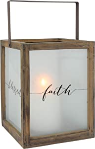 Stonebriar Frosted Glass Rustic Square Wood Hurricane Candle Lantern with Sentiment Sayings