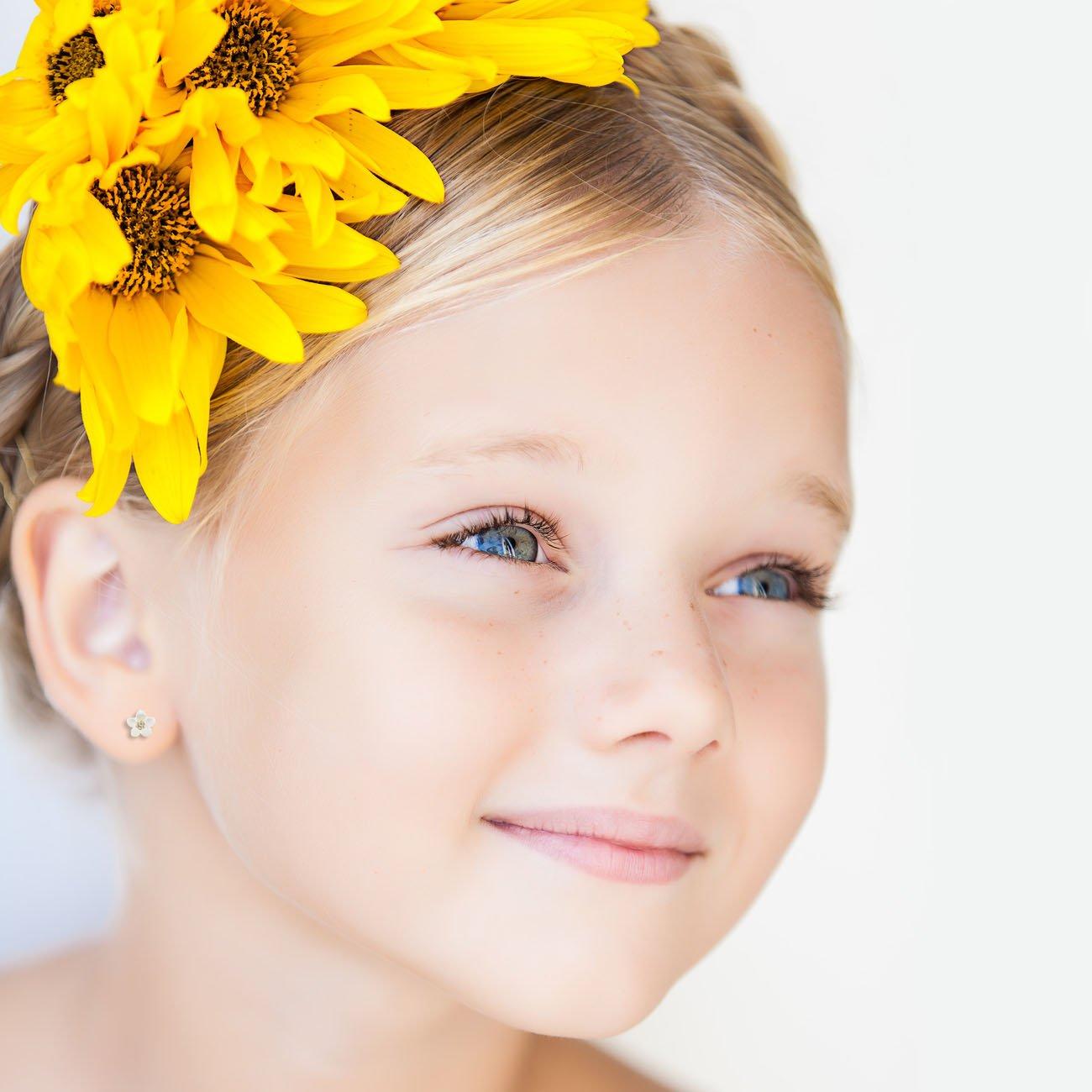 oro giallo 18k Orecchini per Bambini fiore madreperla 750