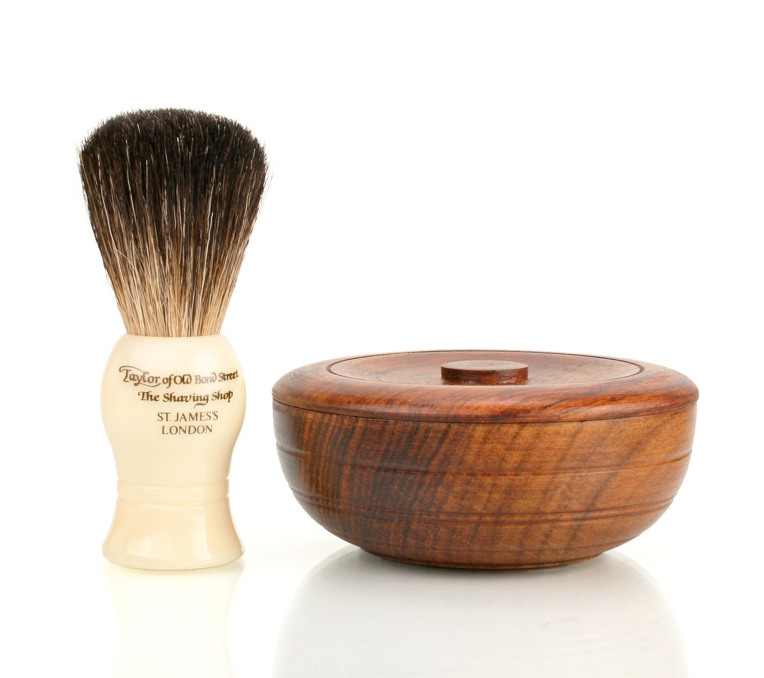 Taylor of Bond Street Pure Badger Brush and Sandalwood Soap in Wooden Bowl Taylor of Old Bond Street