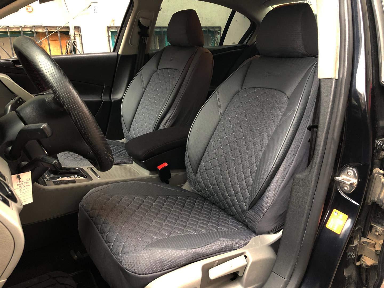 seatcovers by k-maniac Housses de Protection pour sièges d'auto V1406153 Gris sièges Avant Applications en Similicuir Accessoires Automobiles