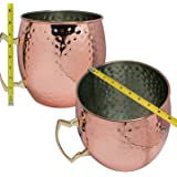 BonBon GIANT Hammered Luxury Moscow Mule Copper Mug with HUGE Cup 192oz. (Nickel lining)