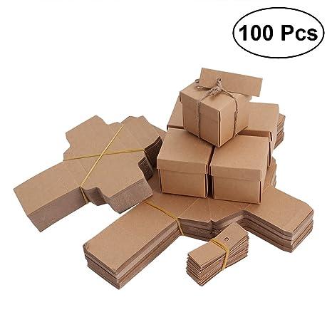 LUOEM Kraft DIY Paper Candy Cajas Vintage Treat Cajas con etiqueta y cáñamo Cuerda Favores de