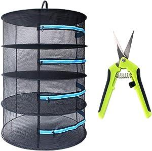 Growsun 3ft 4 Layer Herb Drying Rack w/Blue Zipper Hanging Dry Net Mesh, Garden Scissor Include