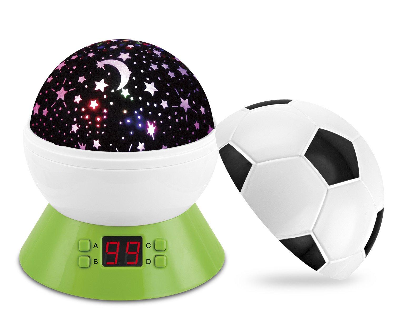 disegno stella rotante luce proiettore Sleep ciucci calcio lampada luce notturna con timer spegnimento automatico perfetto come regalo di compleanno per bambini Baby Night Light Star Projector