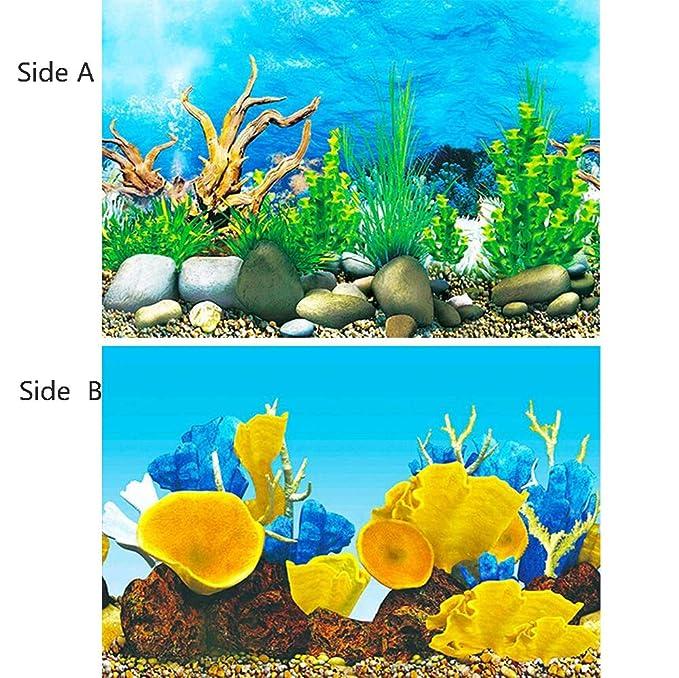 Fondo del Acuario, Estático Cerca De La Imagen HD De Doble Cara 3D Papel Tridimensional Pintura Acuario Decoración del Acuario,[High40*Length102cm]: ...
