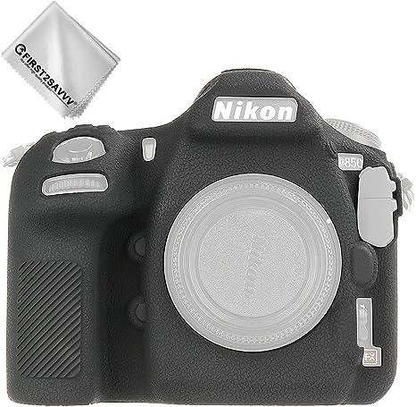 First2savvv negro cuerpo completo caucho de TPU funda estuche Silicona para cámara para Nikon D850 + paño de limpieza XJPT-D850-GJ-A01G11: Amazon.es: Electrónica