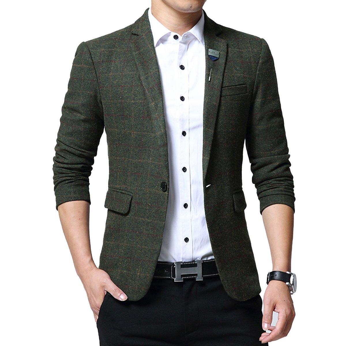 INVACHI Mens Fashionable Slim Fit Casual Tweed Jacket Wedding Prom Party Checkered Blazer Jacket