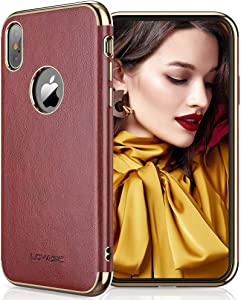 LOHASIC for iPhone Xs Case Women, for iPhone X Leather Phone Cover Girls, Elegant Vintage Slim Non-Slip Soft Grip Protective TPU Bumper Compatible with iPhone Xs (2018)/X (2017) 5.8 Burgundy