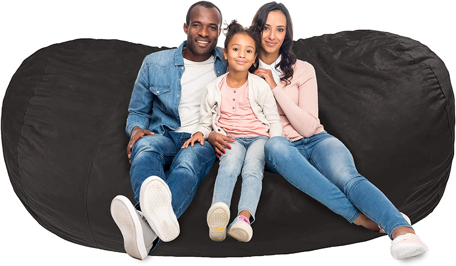 AmazonBasics Memory Foam Filled Bean Bag Lounger with Microfiber Cover - 7', Gray