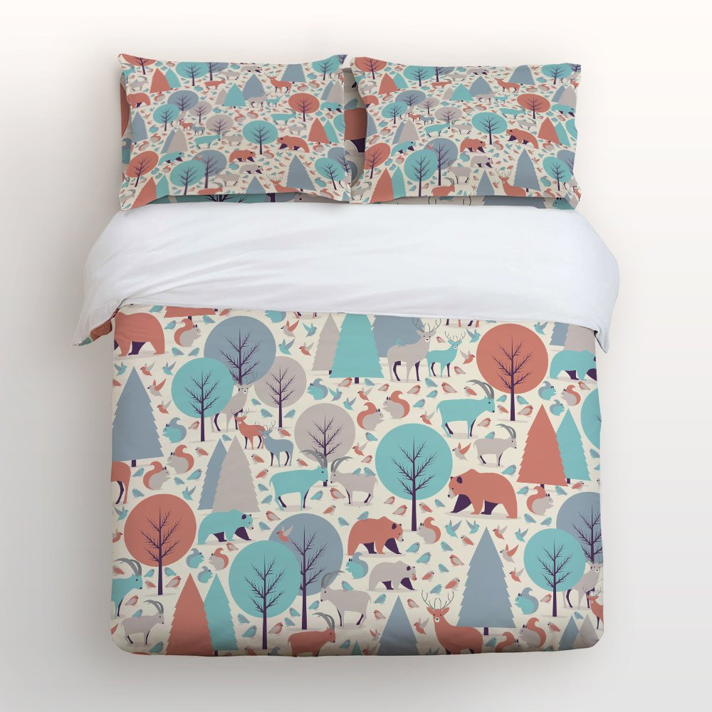 Libaoge 4 Piece Bed Sheets Set, Colorful Woodland Forest Animals Trees Birds Bear Deer Rabbit Deco, 1 Flat Sheet 1 Duvet Cover and 2 Pillow Cases