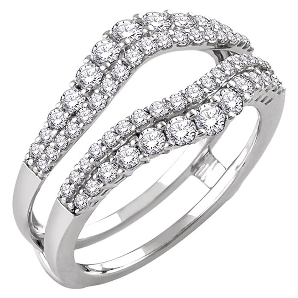 DreamJewels Solitaire Enhancer Round 1.00ct Simulated Diamond Ring Engagement Ring Guard Wrap Alloy 14k White Gold Plated Jacket Dreamjewels-0146