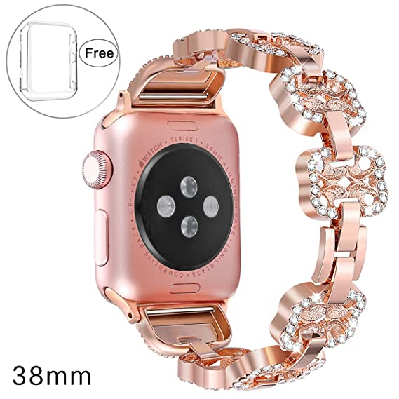 134f7e42f Pintaik for Apple Watch Band 38mm Women - 2018 Adjustable Bling Bracelet  Women Girl Metal Iwatch