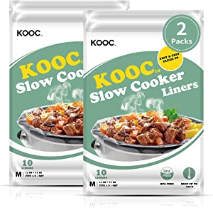 [NEW] KOOC Disposable Slow Cooker Liners and Cooking Bags, 2 Packs(20 Counts), Regular Size Crock Pot Liners Fit 1.5 - 4QT, 11