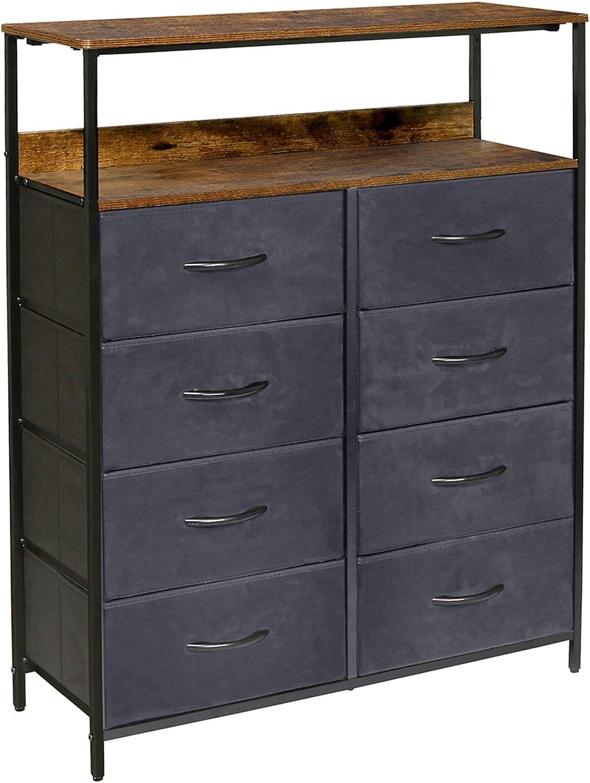 Kamiler 8 Drawers Dresser with Shelves, Tall Vertical Storage Organizer,Versatile Cabinet for Bedroom, Living Room, Hallway, Hotel,Sturdy Steel Frame, Wood Shelf, Removable Fabric Bins