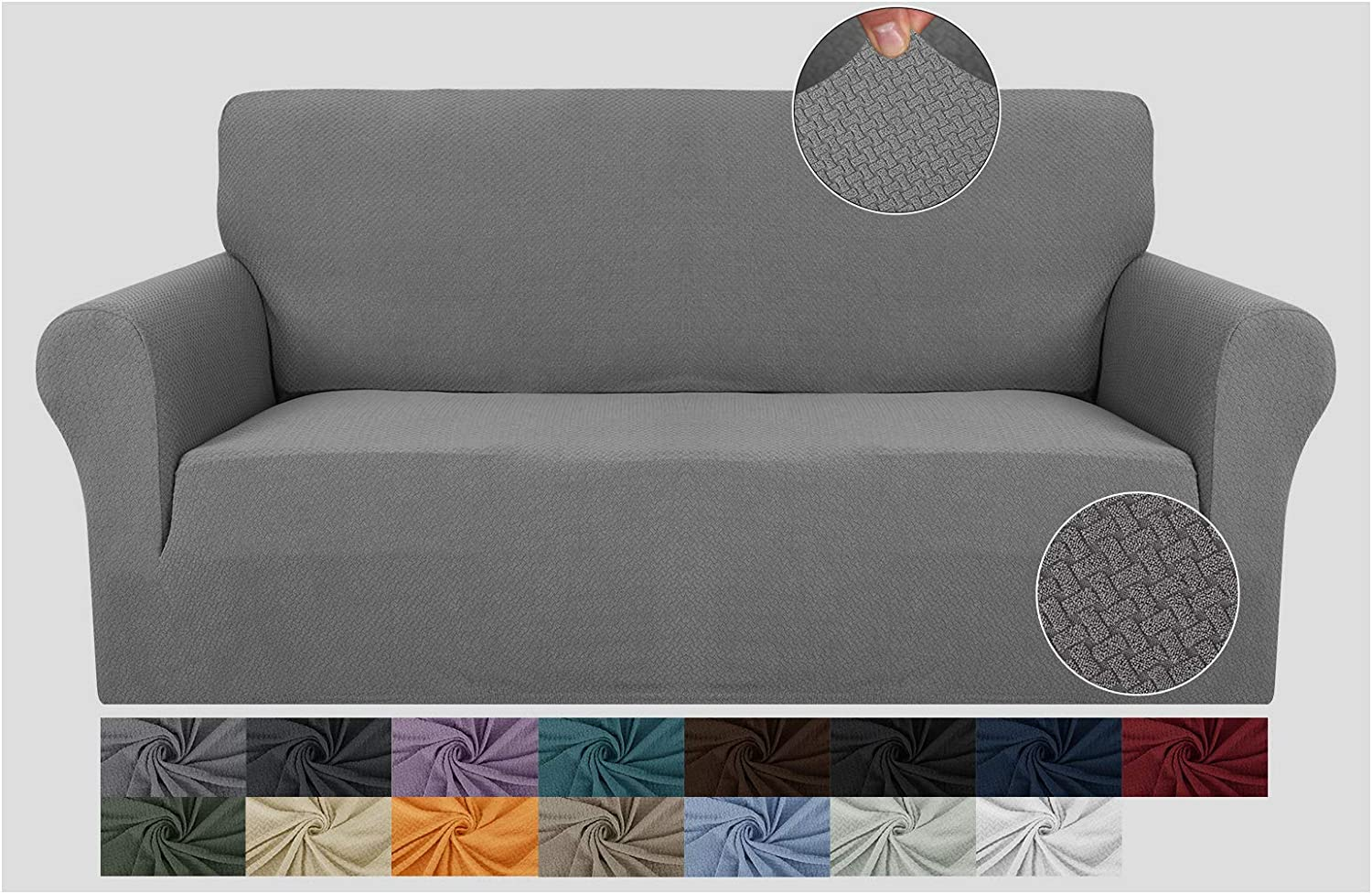 JIVINER Super Stretch 1 Piece Sofa Covers for 3 Cushion Couch Newest Jacquard Non Slip Sofa Slipcovers Thick Couch Covers for Pets Furniture Protector with Elastic Bands (Sofa, Light Gray)