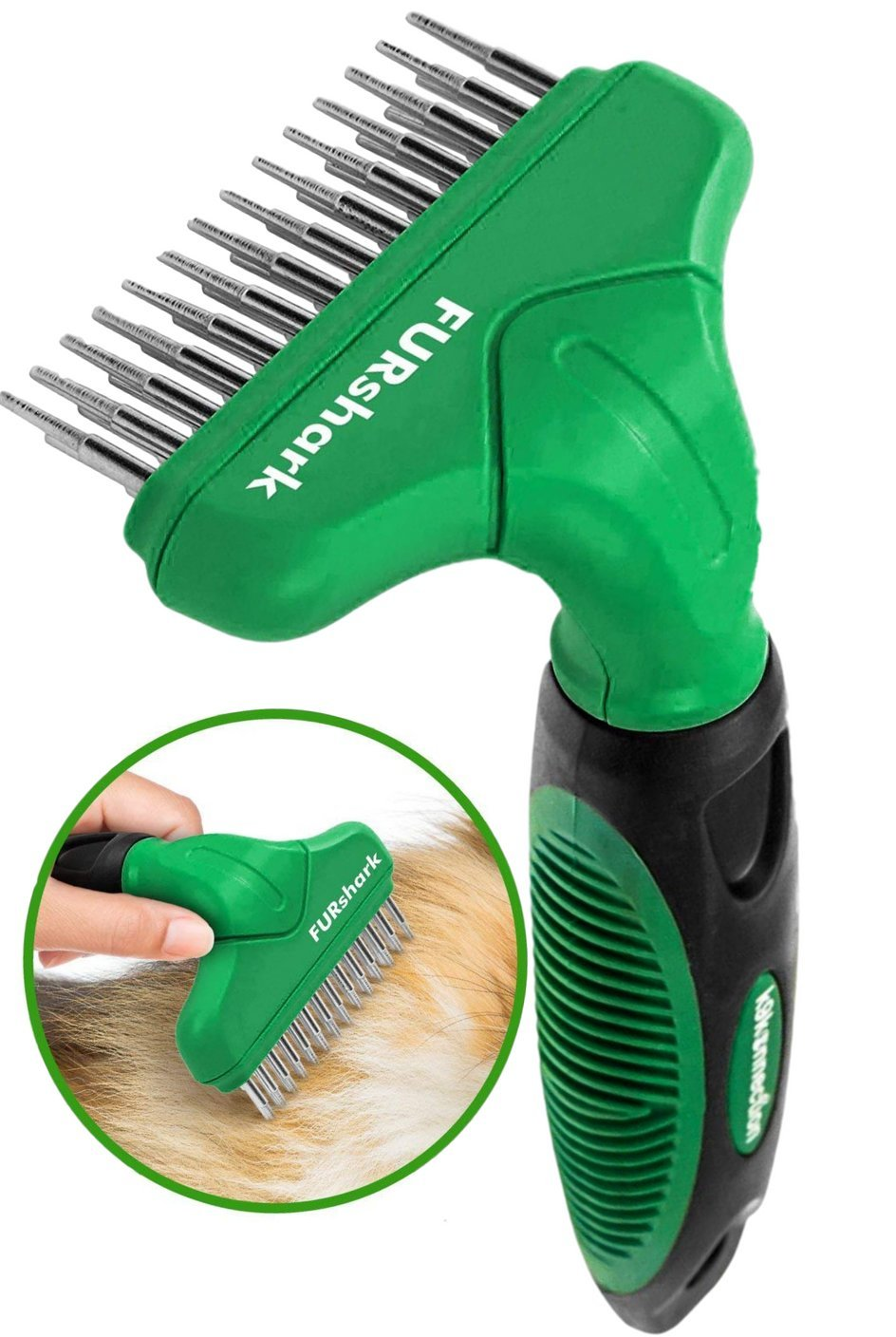 K9KONNECTION FURshark Deshedding Tool for Dogs & Cats - Professional Dog Brushes For Shedding - Undercoat Rake Tool - Pet Grooming Brush for Long, Medium Hair - Rotating Double Stainless Steel Pins