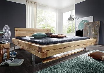 Balkenbett Doppelbett Bett Holzbett Wildeiche Massiv Baumkante
