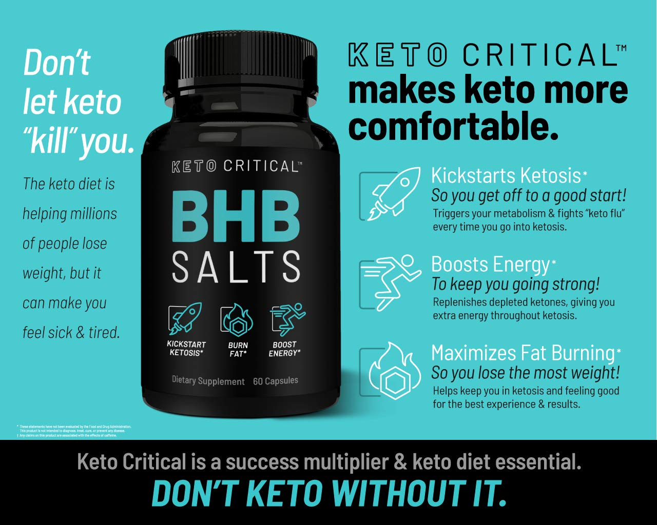 Keto Diet Pills Exogenous Ketones BHB Salts Beta-Hydroxybutyrate (800mg | 60 Capsules) Best Fat Burner & Weight Loss Supplement for Men and Women, Boost Energy & Metabolism by Keto Critical (Image #4)