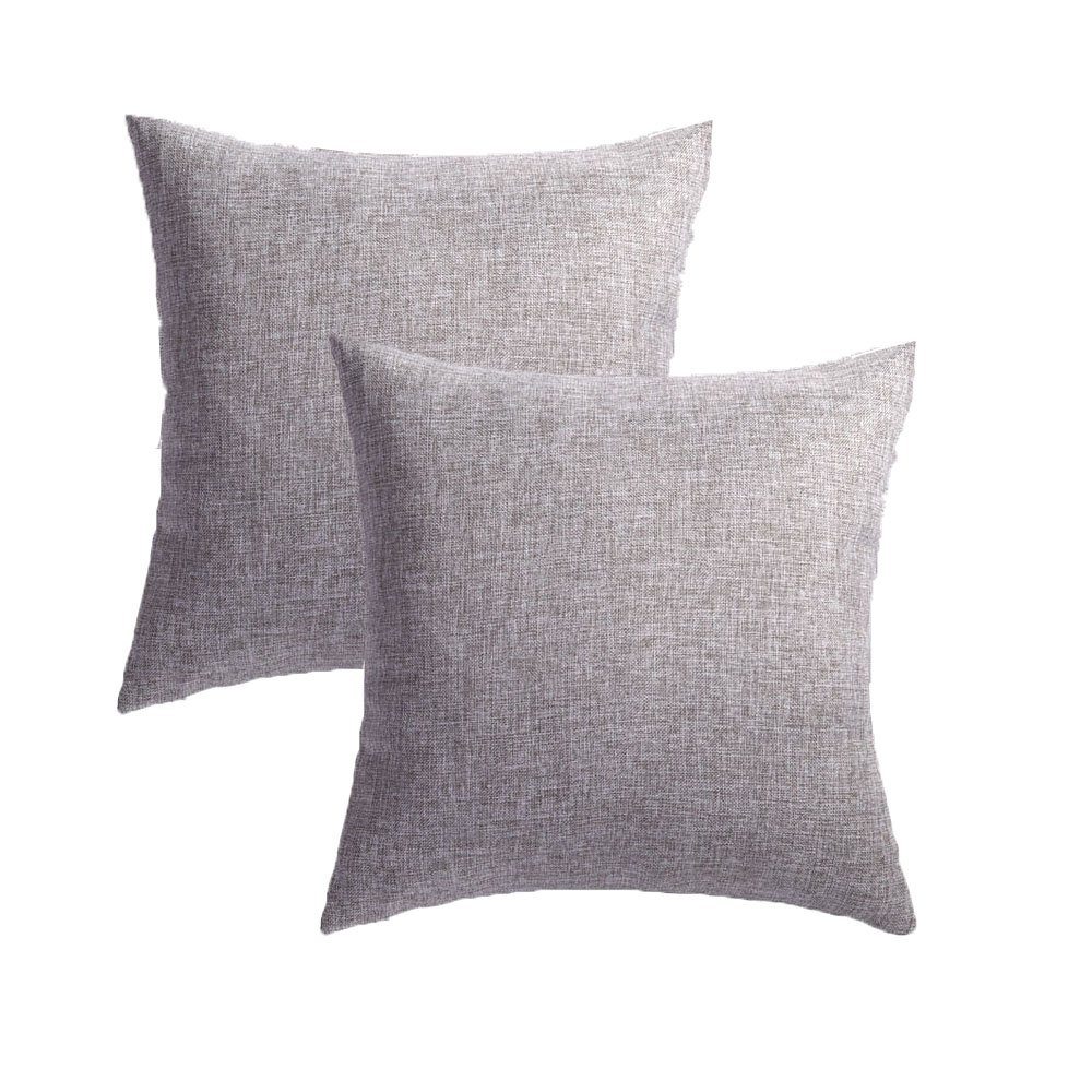 Set of 2 Throw Pillow Covers Coastal Cushions Fine Faux Linen Home Decorative Soft Pillow Case Covers With Zipper for Chair No Pillow Insert Outdoor Indoor Home Decor(20 x 20 inch, Neutral Grey)