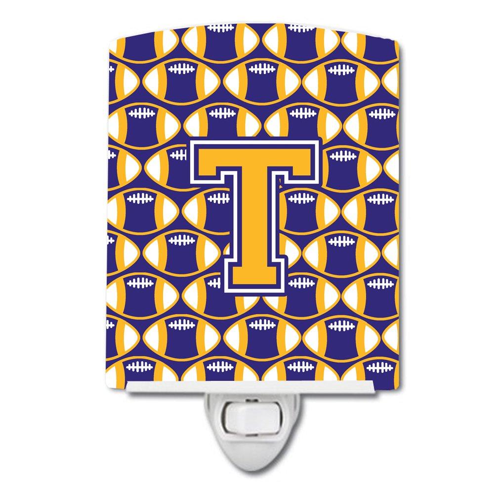 Carolines Treasures Letter T Football Purple and Gold Ceramic Night Light 6x4 Multicolor