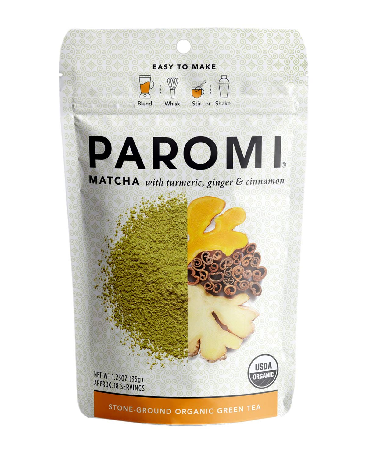 Paromi Tea Matcha with Turmeric, Ginger & Cinnamon 1.23 Oz, Organic Stone-Ground Organic Green Tea, Serve Hot or Iced, Blend, Whisk, Stir, or Shake into Water or Milk