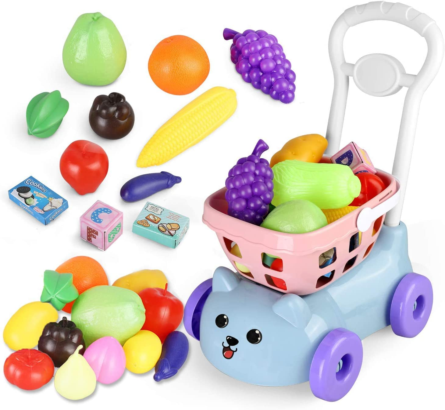 BeebeeRun Toys Shopping Cart Kids Grocery Kitchen Pretend Play Food Accessories for Children Girls Boys 20 Pieces