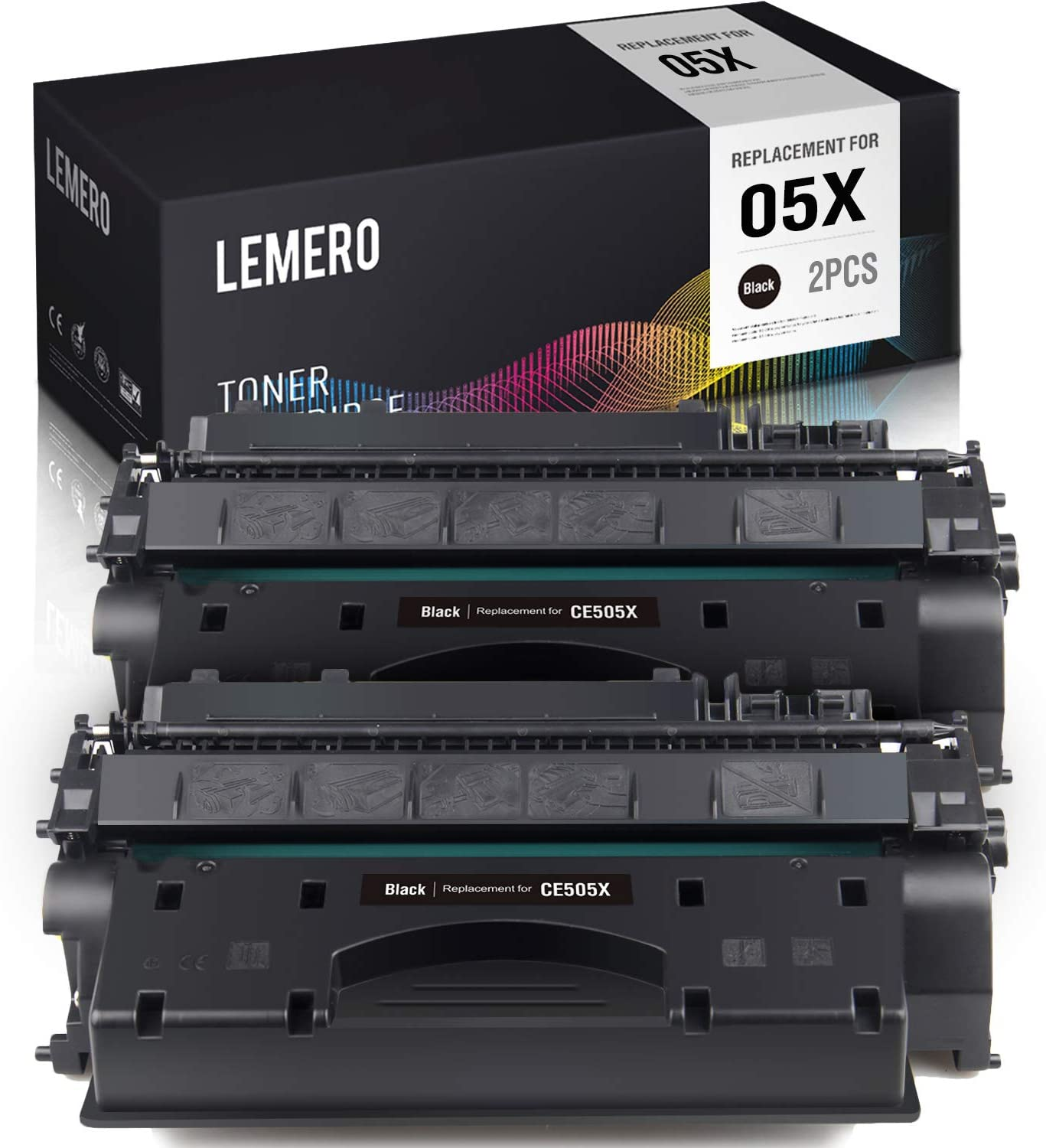 LEMERO Compatible Toner Cartridge Replacement for HP 05X CE505X CE505A to use with Laserjet P2055DN P2055 P2055D P2055X (Black High Yield, 2-Pack)
