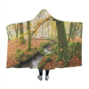 GGACEN Woodland Oversized Blanket Misty Autumn Woodland Stream at Golitha Falls on Bodmin Moor in Cornwall for Sofa Home Watching TV Orange Green Yellow 80x60 inches