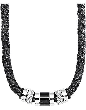 S.Oliver Herren Kette Männerkette Edelstahl Beads Leder geflochten 45+3 cm  schwarz d5b28640f6b1d
