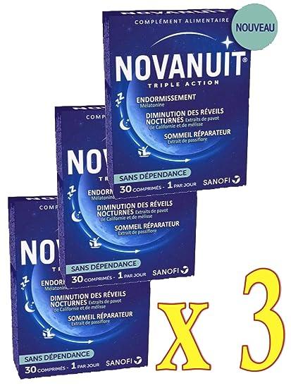 novanuit sueño triple action – Pastillas sin Dioxide de titanio – 3 mes de tratamiento –