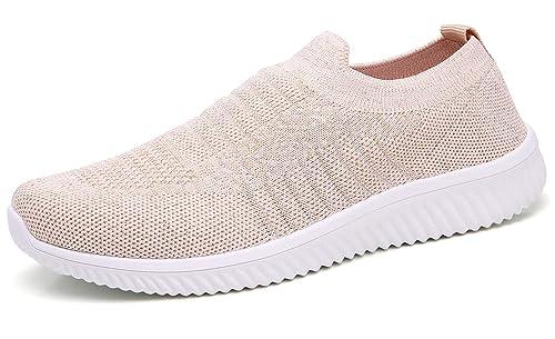 dbc1d76e52 TSIODFO Women Flyknit Slip on Athletic Walking Shoes