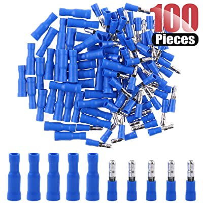 Hilitchi 50Pcs 16-14 Gauge Insulated Male / 50Pcs Female Bullet Quick Splice Wire Terminals Wire Crimp Connectors Set (Total 100Pcs)