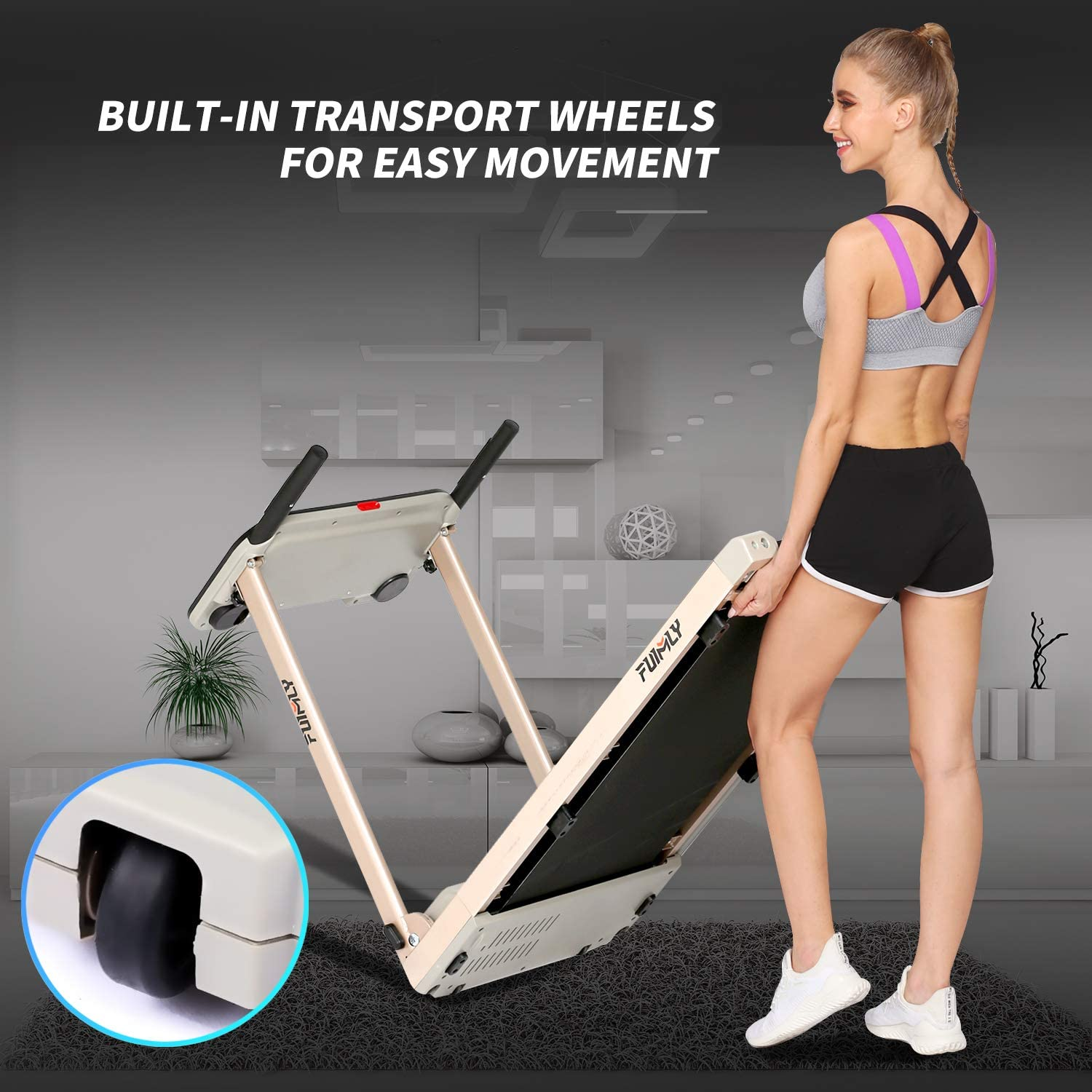 Heavy Duty Steel Frame Treadmills with Large Desk,//Best 2.25HP Exercise Jogging Walking Running Machine for Home Gym Office Workout FUNMILY Folding Electric Treadmill,/12 preset Programs