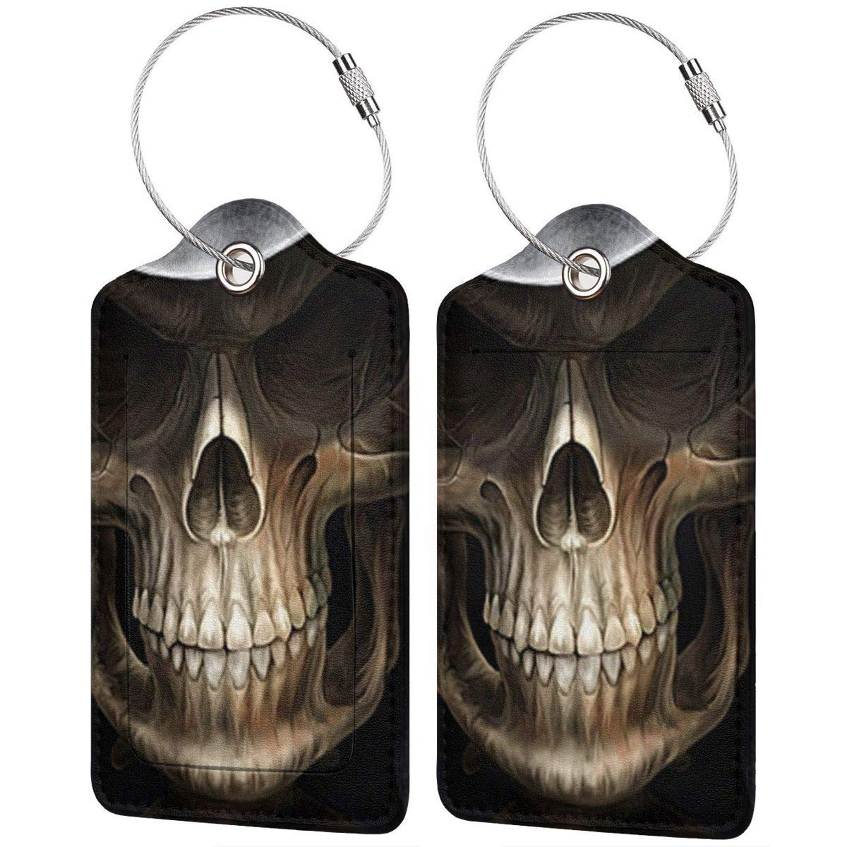 GoldK Grim Reaper Leather Luggage Tags Baggage Bag Instrument Tag Travel Labels Accessories with Privacy Cover