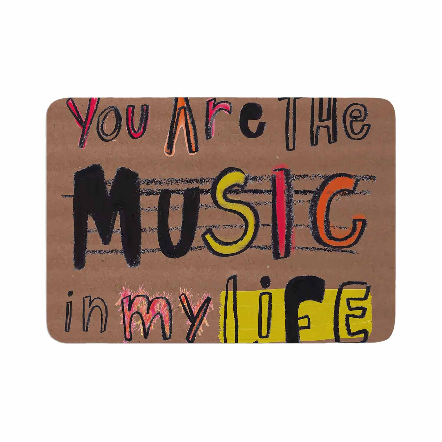 Kess InHouse MaJoBV Music in My Life Brown Quote Memory Foam Bath Mat, 24 by 36'