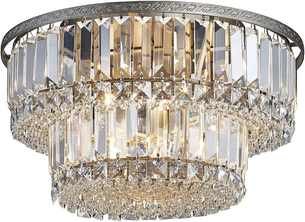 Saint Mossi Chandelier Modern K9 Crystal Raindrop Chandelier Lighting Flush Mount LED Ceiling Light Fixture Pendant Lamp for Dining Room Bathroom Bedroom Livingroom 5 G9 Bulbs Required H9 X D16